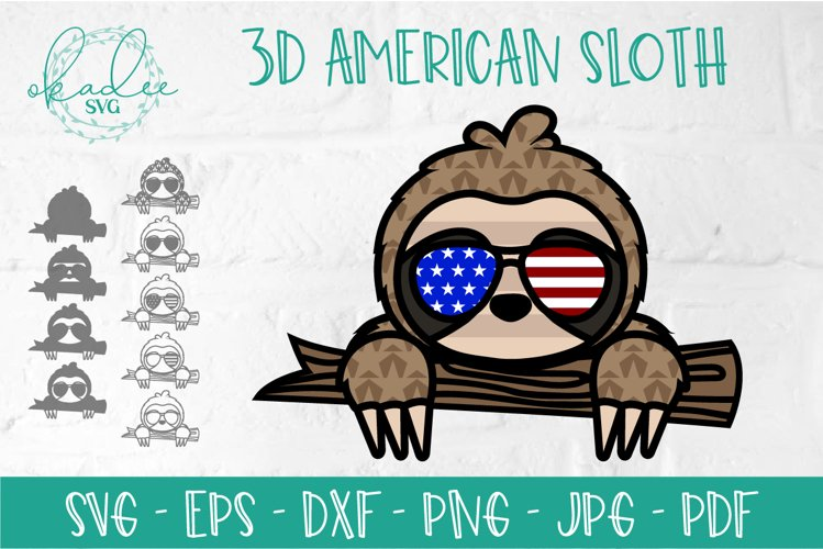 America Sunglasses Sloth, 3D Sloth SVG, Multi Layer Sloth example image 1