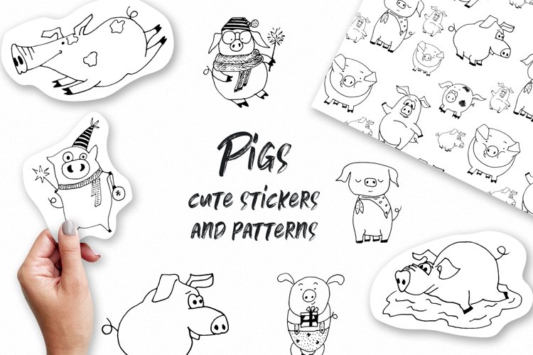 Pigs. Cute vector Stickers & Patterns Christmas graphic Pigs