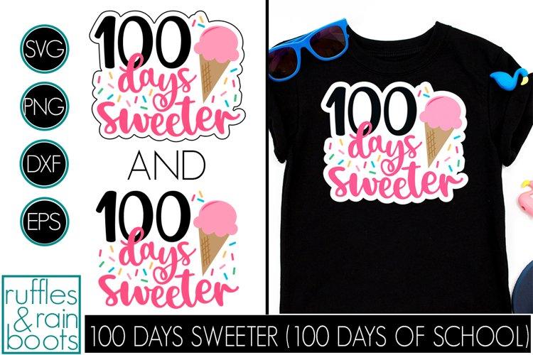 100 Days Sweeter SVG - Fun Ice Cream School Design for Kids