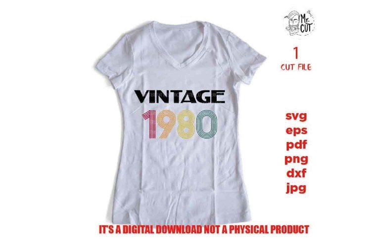 vintage 1980, Birthday shirt vector design SVG, example image 1