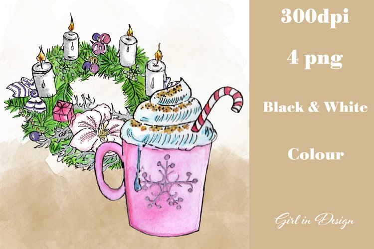 Christmas Wreath Decoration and Hot Chocolate Clipart example image 1