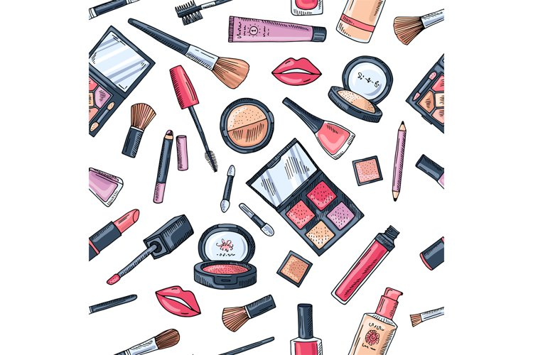 Makeup seamless pattern. Illustrations of different cosmetic