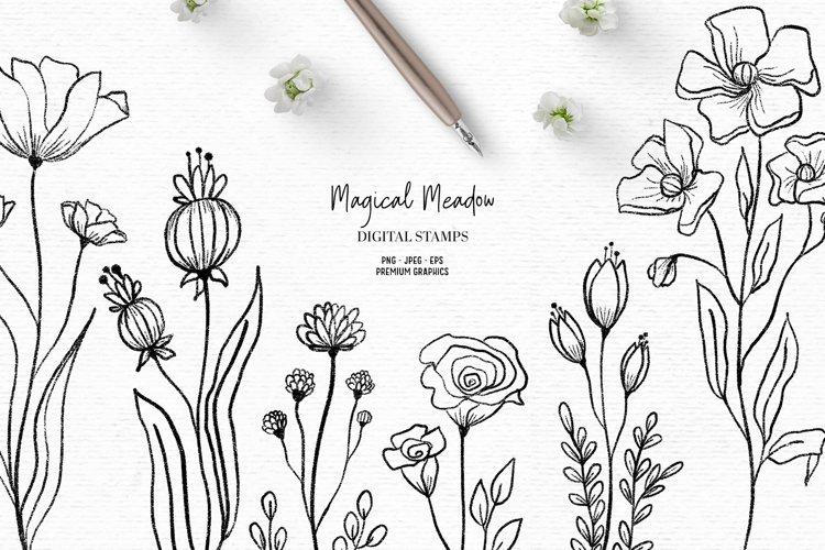 Hand drawn wildflower clipart | Flower digital stamps