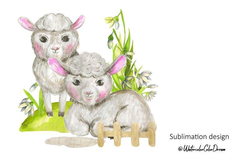 Farm animals lambs sublimation design
