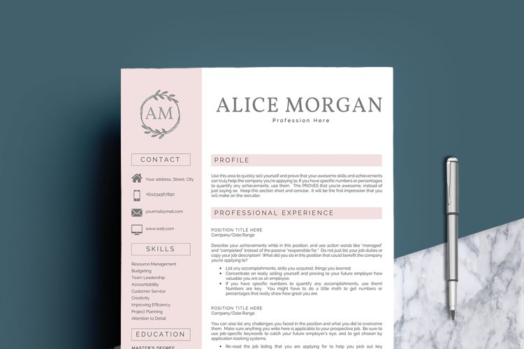 Professional Creative Resume Template - Alice Morgan - Free Design of The Week Design0