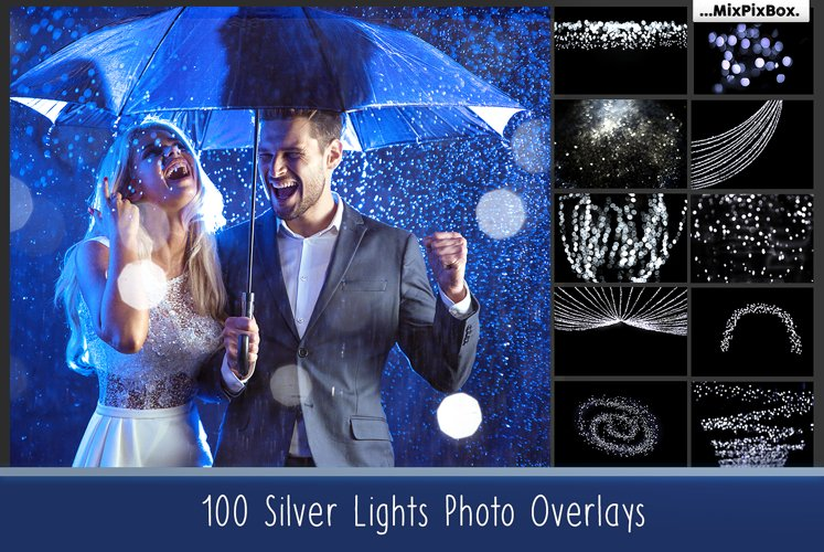 100 Silver Lights Photo Overlays example image 1