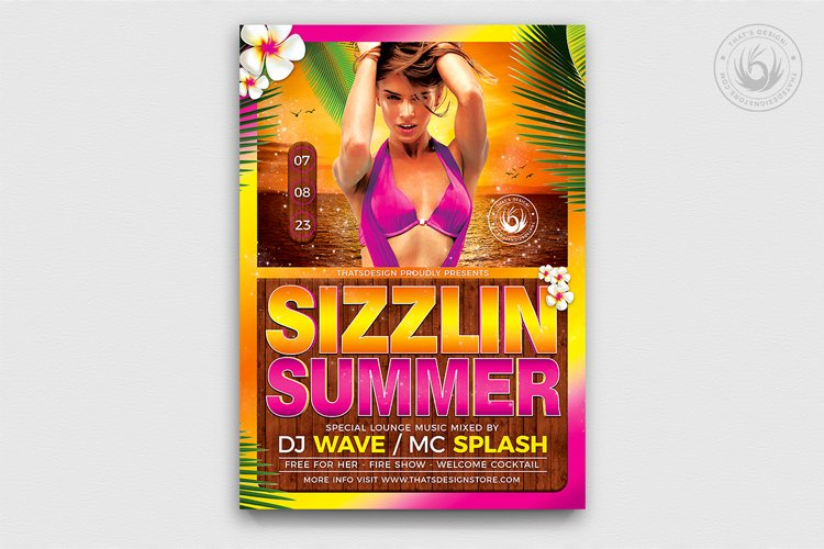 Beach Party Flyer Template V7 example image 1