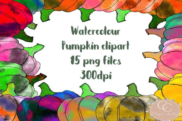 Watercolor Halloween Pumpkin Clipart - 15 colors example image 1
