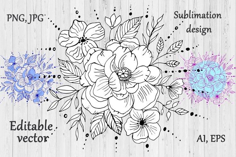Peony Flower Bouquet Clipart- Floral Sublimation Design