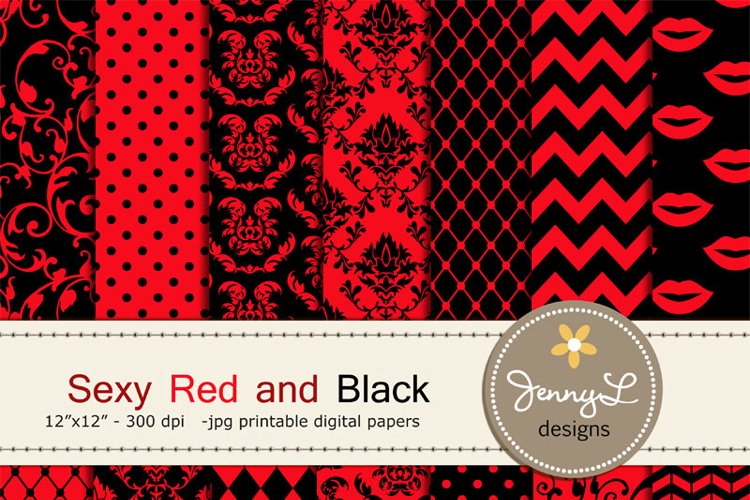 Sexy Red and Black Digital Papers, Lips Boudoir for Wedding example image 1