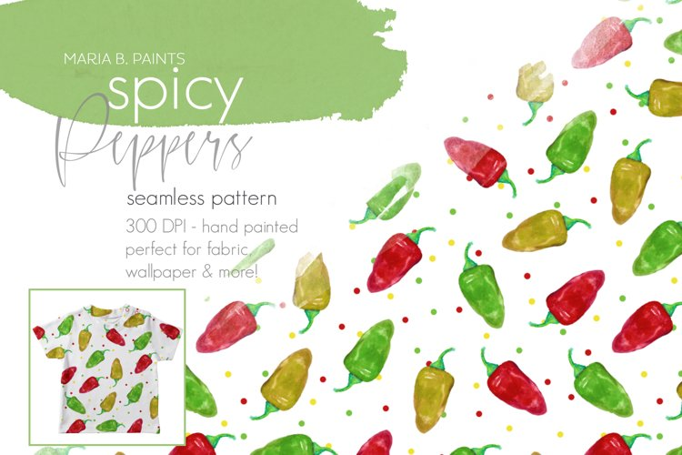 Spicy Pepper Seamless Pattern Design example image 1