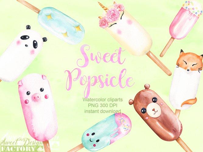 watercolor popsicles clipart