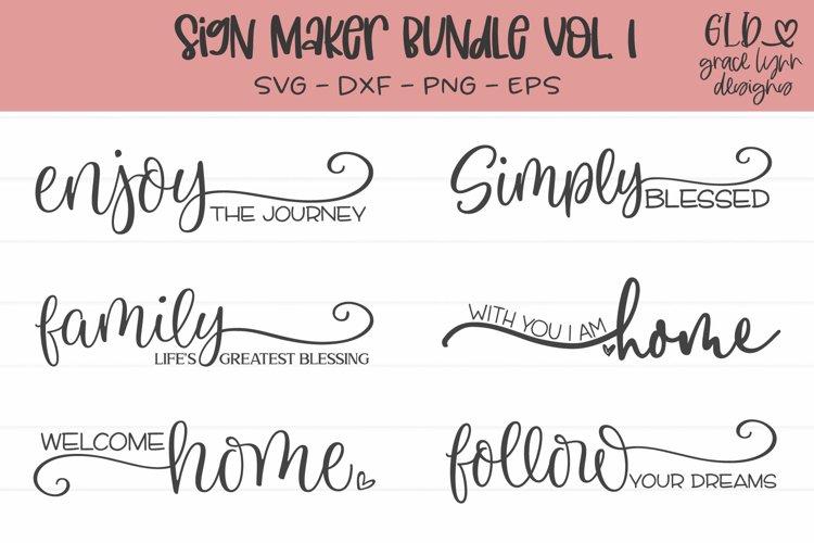 Sign Maker Bundle Vol. 1 - 6 Sign SVG Cut Files example image 1