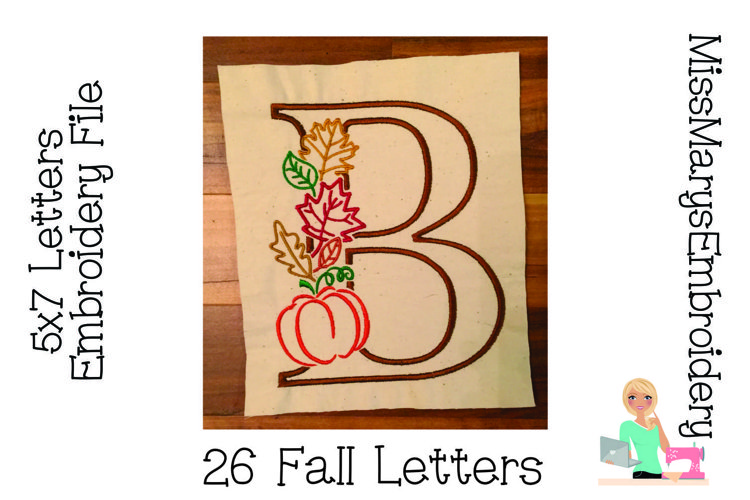Fall Leaf Embroidery Letters | Monogram Embroidery Letters example image 1