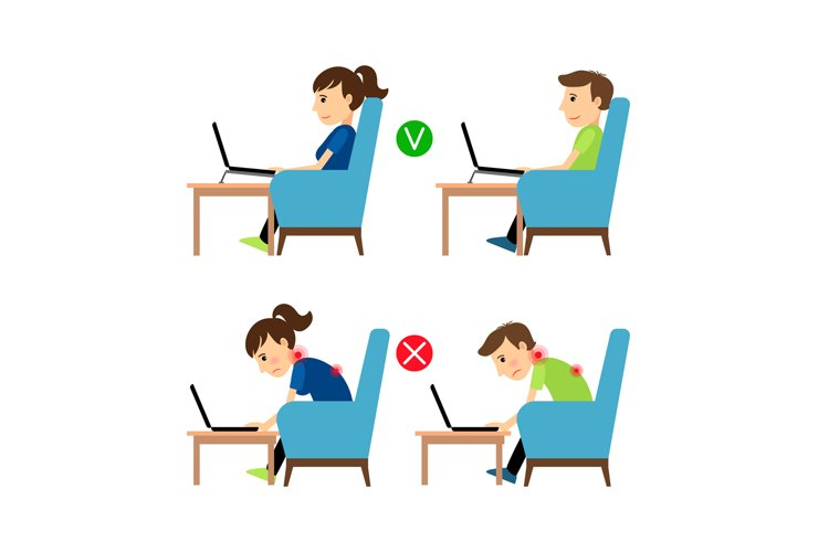 Incorrect and Correct laptop use position example image 1