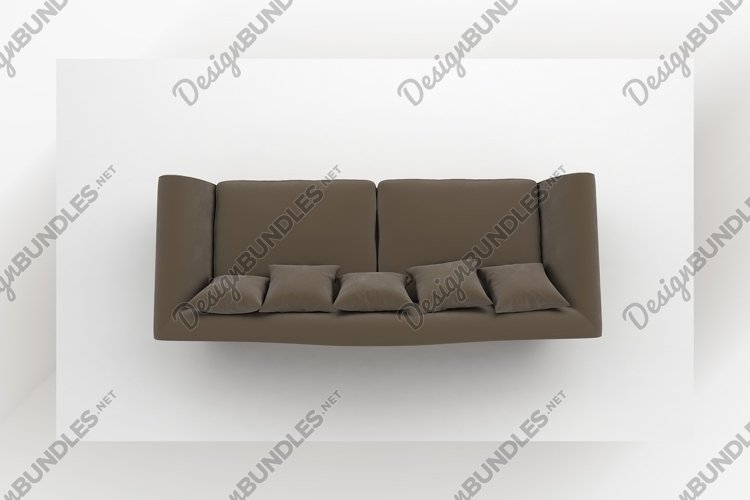 Brown sofa with pillows top view furniture 3d rendering example image 1