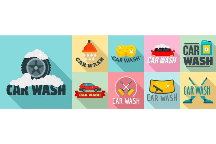 Car wash logo set, flat style example image 1