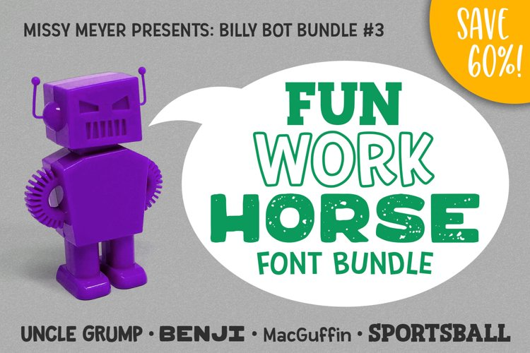 Billy Bot Bundle 3 - The Fun Workhorse Font Bundle! example image 1