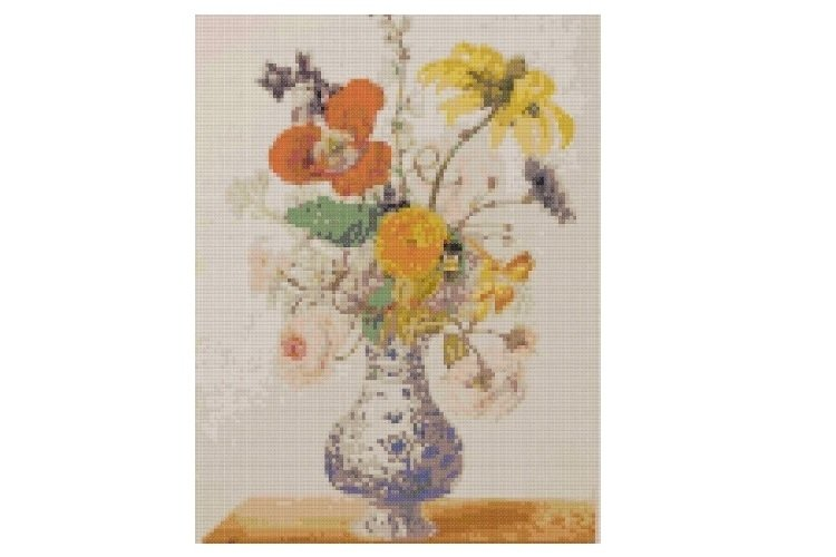 Vintage Flowers Cross Stitch Pattern example image 1