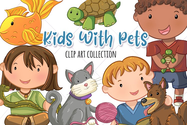 Kids With Pets Clip Art Collection
