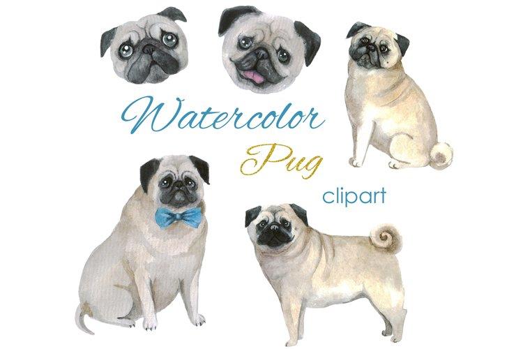 Watercolor clipart Pug clip art Digital download Easter png