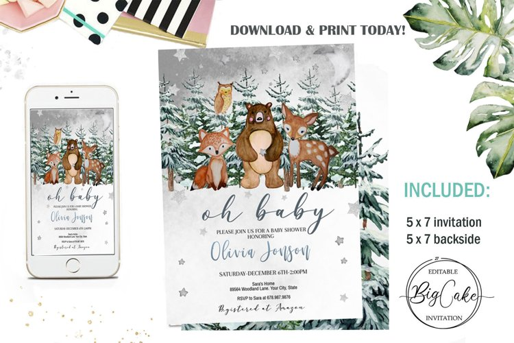 Woodland Baby Shower Invitation Winter Editable