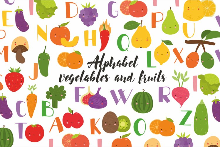 Kids alphabet. fruit and vegetable PNG. Baby vegetables. example image 1