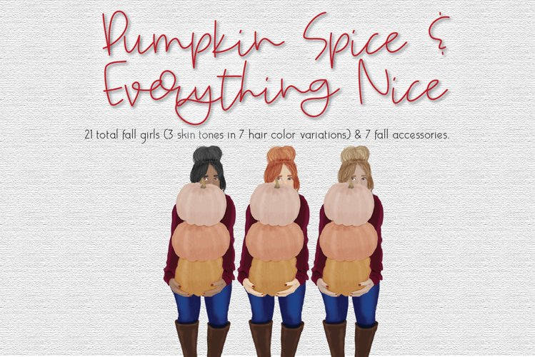 Fall Pumpkin Girls Clipart Set example image 1