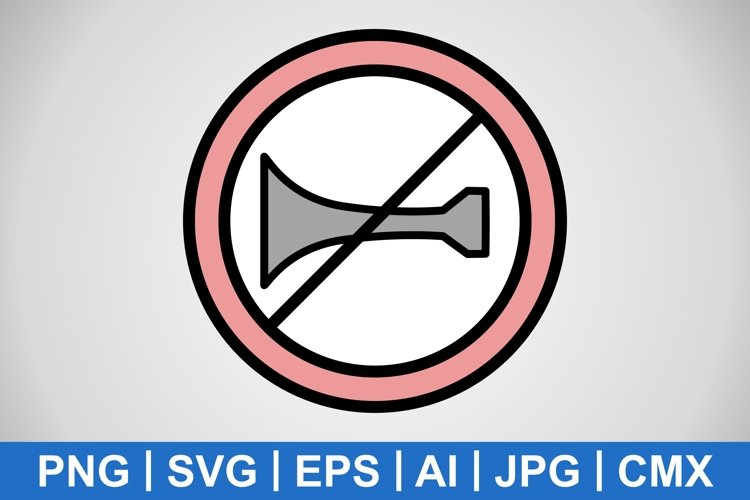 Vector Audible warning devices prohibited Icon example image 1