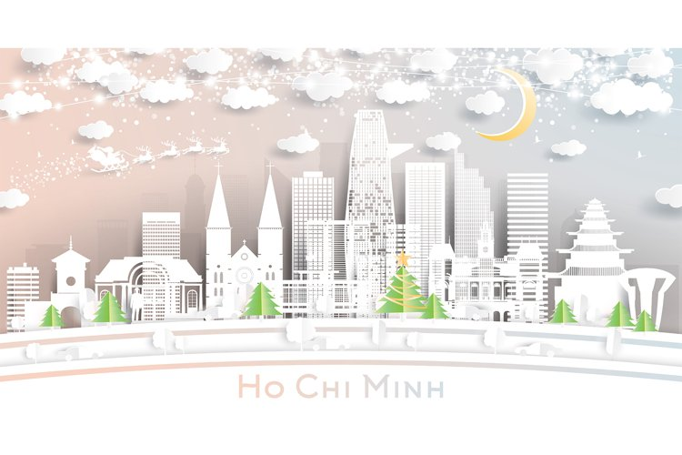 Ho Chi Minh Vietnam City Skyline in Paper Cut Style example image 1