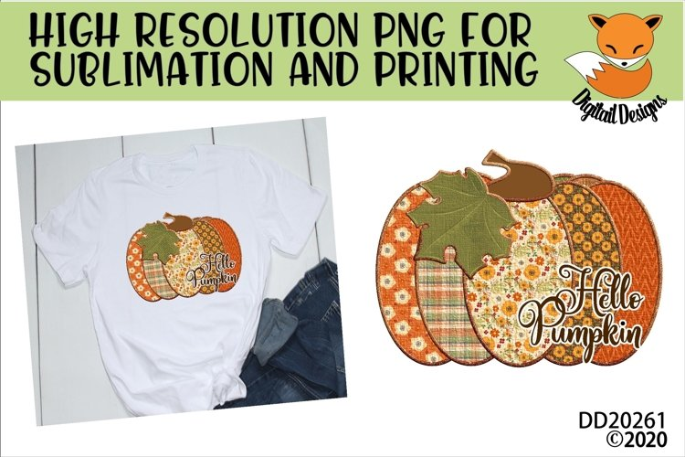 Patchwork Hello Pumpkin Fall Sublimation Design example image 1