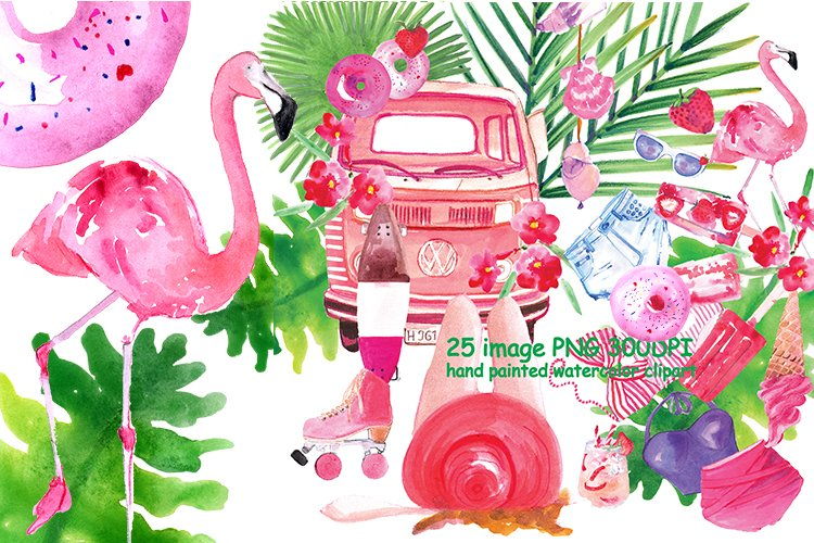 Strawberry Summer Watercolor Clipart example image 1