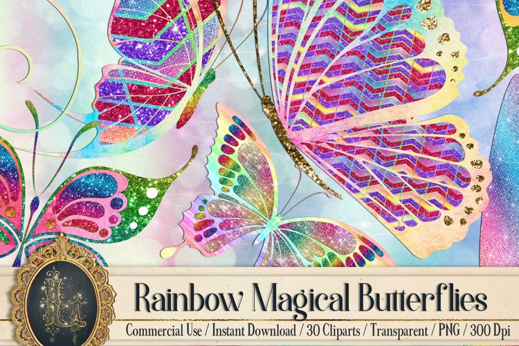 30 Rainbow Glitter Sequin Watercolor Butterfly Clip Arts PNG