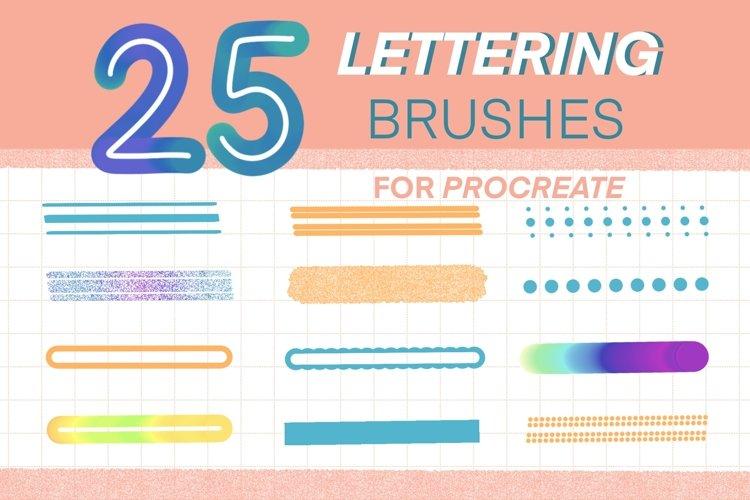 25 Procreate Lettering Brushes Set, Monoline, Outline