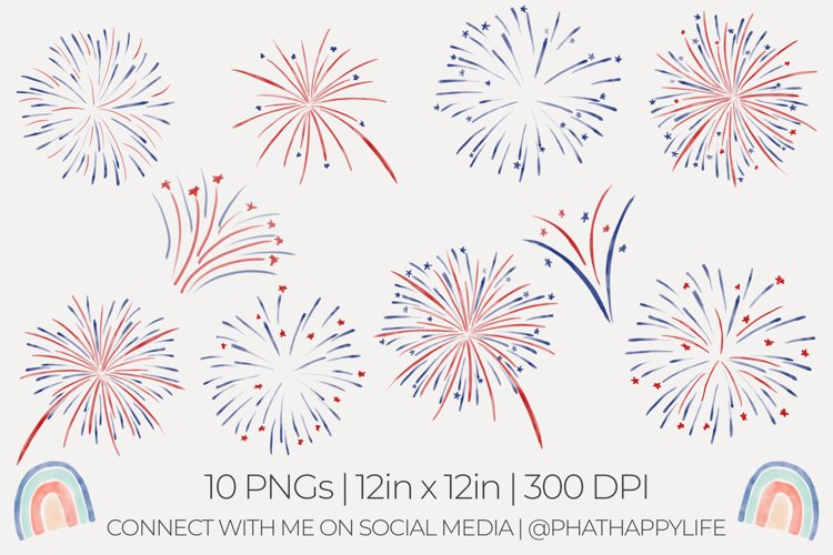 Watercolor Fireworks Sublimation - 10 Watercolor PNGs
