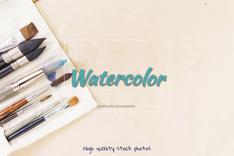 Watercolor paints, palette, brushes and accessories.
