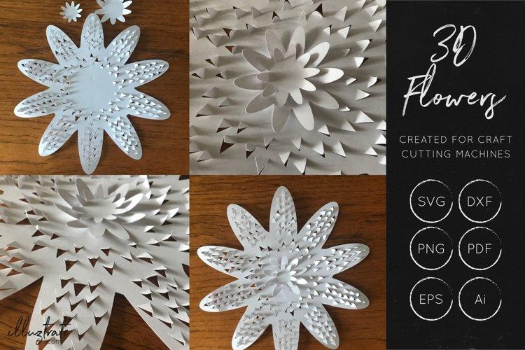 3D Flower SVG Cut Files - Flower SVG - Layered Flower DXF - Free Design of The Week Design4