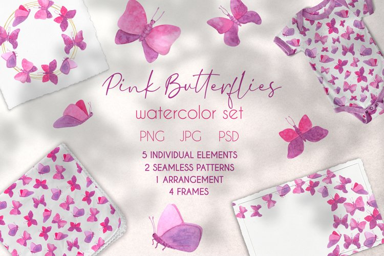 Cute Pink Butterflies Watercolor Clipart Collection
