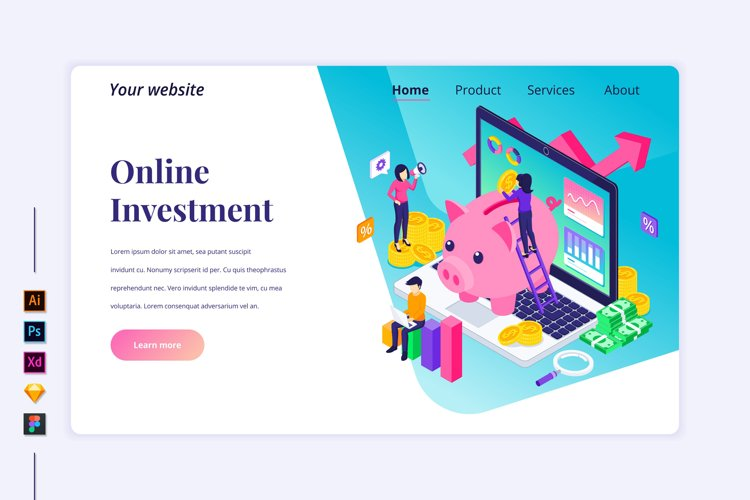 Isometric Business Investment Landing page illustration example image 1