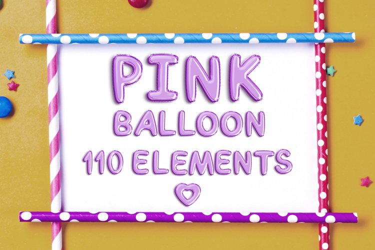 Pink Balloon Alphabet Elements example image 1