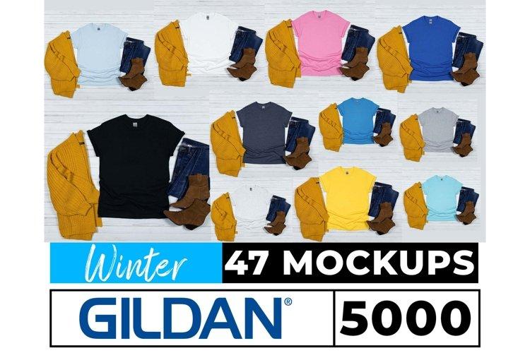 Gildan 5000 Winter Style Mockups 47 Colors Flat Lay White Bg