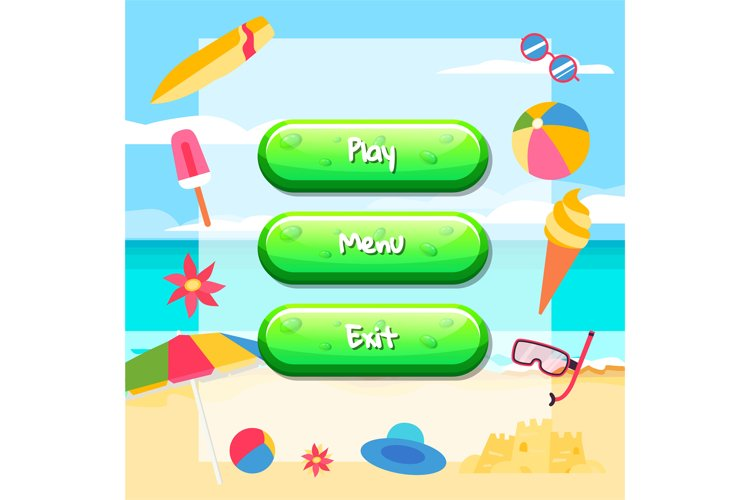 Vector cartoon style buttons with text for game design on be example image 1