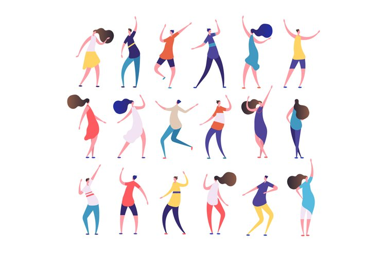 Dancing people. Cartoon stylish men and women dance on party example image 1