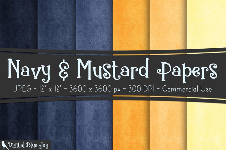 Digital Paper Textured Backgrounds - Navy & Mustard example image 1