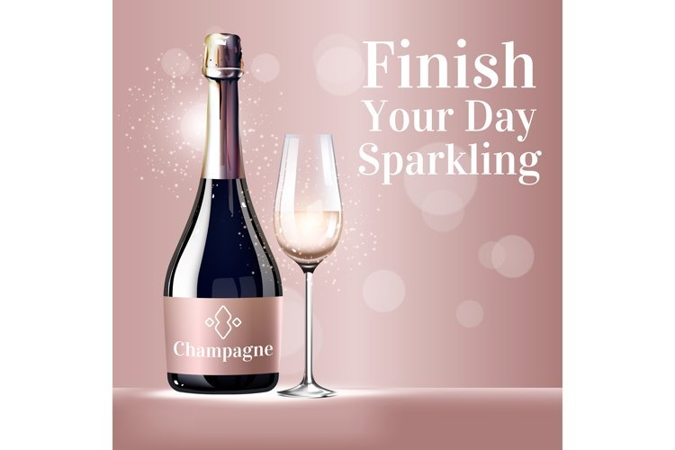 Finish your day sparkling realistic product ads poster example image 1