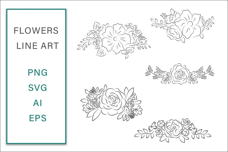 Flowers lineart Clip Art Vector SVG Illustration example image 1