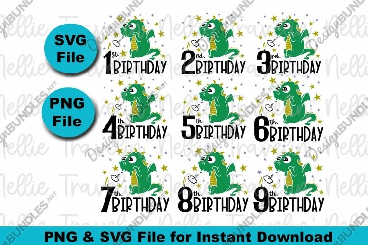 Cute Baby Dragon Birthday Bundle SVG PNG Boy Girl Baby Youth