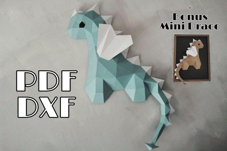 Papercraft Dragon,PDF Template,svg, dxf, lowpoly dragon