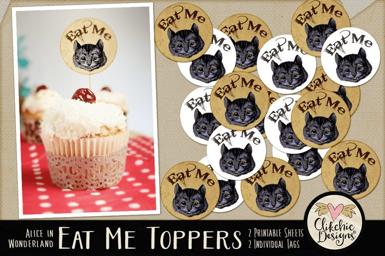 Alice in Wonderland Cheshire Cat Printable Cake Toppers example image 1