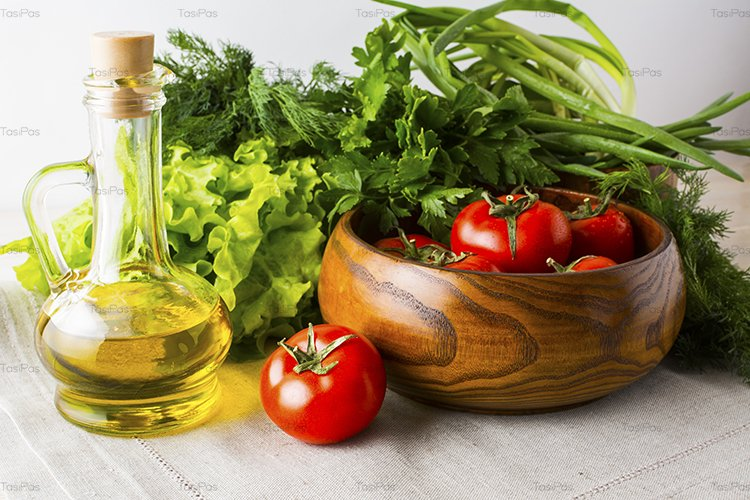 Healthy eating concept with summer vegetables and olive oil example image 1
